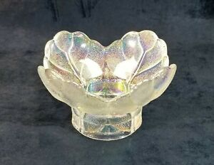 LE Smith Glass Crystal Luster Carnival Glass Cabbage Leaf Candle Votive or Bowl