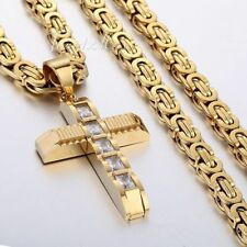 Black Silver Gold Chain Criss Cross Pendant Necklaces for Mens Stainless Steel