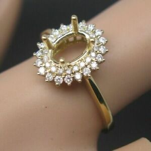 4x6MM Oval Cut 14K  Solid Yellow Gold Natural Diamond Semi Mount Ring Setting