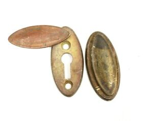 "Antique Brass Key Hole Swinging Escutcheon Key Cover Door 1x2"""