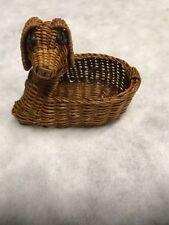 """DOG Wicker Basket Cute  5 1/2"""" LONG x 4"""" tall SMALL BASKET FOR KEYS CHANGE  ETC"""