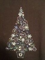 Catherines Beaded Christmas Tree Plus BLACK Colorful Silver Womans Top Shirt New