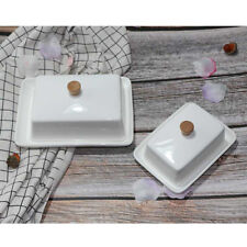 Porcelain Butter Dish With Lid Holder Serving Storage Tray Plate Container