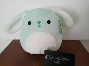 """NEW Button the Baby Blue Bunny Rabbit Fuzzy Tummy 8"""" Squishmallow Plush Easter"""