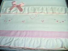 Coordinato lettino bebè ELITE ricamato a mano rosa lenzuolino + sotto art.85169