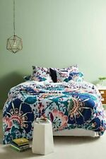 Anthropologie King Duvet Cover Embroidered Crewel Liberty London Feather Bloom