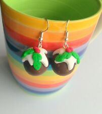 ** BOUCLES D'OREILLES pudding de Noël-Fait Main Noël Stocking Filler fimo **
