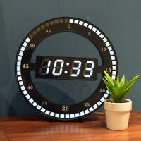 Creative Mute Hanging Wall Clock Living Room Black Circle Digital LCD Display
