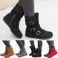 Women Winter Warm Faxu Suede Booties Shoes Buckle Flat Short Ankle Snow Boots