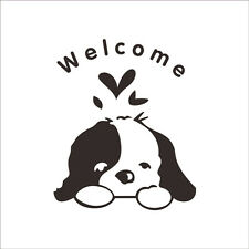 Welcome Sign with Cute Puppy Dog.. Dog Pet Quote UK Wall Sticker