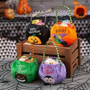 Portable Cute Horror Kids Candy Bucket Halloween Candy Bag Candy Tote Gift Bag