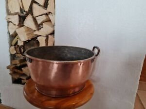 Copper pot/Antique copper large pot 18th century. H 6 ih, d 12 ih / Home decor.