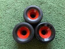 Vintage Unknown Black & Red Skateboard Roller Skate Wheel Lot Of 3