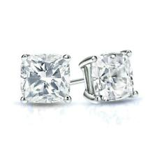 3.50 CT CUSHION? MOISSANITE COLORLESS DEF MARTINI STUDS SOLITAIRE EARRINGS