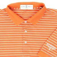 "Fairway & Greene Men XL 54"" Southern Trace Golf Polo Shirt Orange White Stripe"