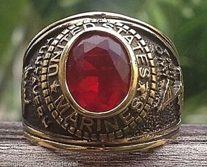 United States Marines Ring Ion Gold USA Military Red Stone SZ 8-14
