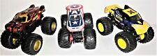 Monster Jam Hot Wheels Trucks Captain America Iron Man & Wolverine1:64 Lot of 3