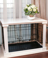 Indoor Dog Crate Wood Pet Kennel Wooden Side End Table Wire Cage Cover White