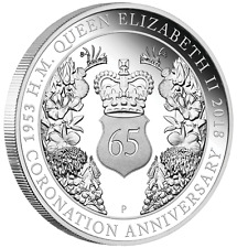 65th ANNIVERSARY THE CORONATION OF HER MAJESTY QEII 2018 1oz SILVER PROOF COIN