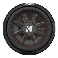 Kicker CompRT Single 10 Inch 800 Watt Max Dual 2 Ohm Shallow Slim Car Subwoofer