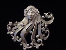 """""""JJ"""" Jonette Jewelry Silver Pewter 'ART NOUVEAU Woman w/Jewels' Pin"""
