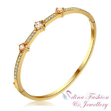 18K Yellow Gold Plated Three Simulated Diamond Studded Shiny Champagne Bangle