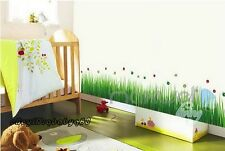 Ladybug Grass Wall Border Decals Removable Windows Stickers Kids Nursery Decor