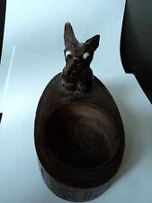 VINTAGE intagliati a mano Nero Foresta Bavarese Scottie Dog Ciondolo con gli occhi di vetro