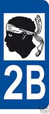 1 Sticker plaque immatriculation AUTO adhésif département 20 2B