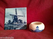 Royal Delft Blue Holland Tile Ashtray Dutch Windmill Vintage Trivet