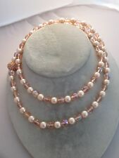 """7mm Bead Necklace 30"""" Pink Rhinestones Estate Costume Joan Rivers Peach and Pink"""
