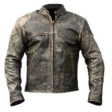 Antique Retro Men Biker Cafe Racer Distressed Leather Jacket - BLACK - All sizes
