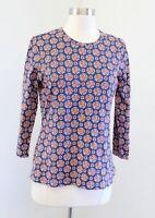 J McLaughlin Blue Orange Medallion Geometric Print Top Blouse Size M Nylon