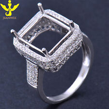 10×12MM SOLID 14K WHITE GOLD NATURAL DIAMOND SETTING SEMI MOUNT ENGAGEMENT RING