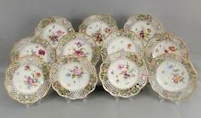 11 Antique German Dresden Reticulated Floral Paintings Porcelain Dessert Plates