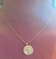 Roman Caesar Gold Plated Gold Coin Flan Pendant