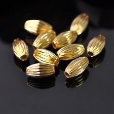 50pcs 12x7mm Gold Plicated Rugby Shape Metal Brass Alloy Loose Spacer Beads