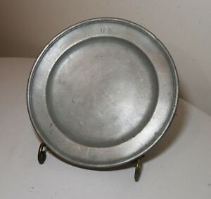 rare antique 18th century English forged pewter dinner plate charger London dish