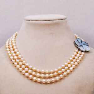 """3 row 7-8mm White Black Pink Freshwater Natural Mulitcolor Pearl Necklace 17-18"""""""