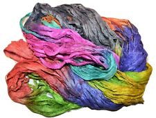10 yards Recycled Sari Silk Ribbon Yarn, Bright Multi4