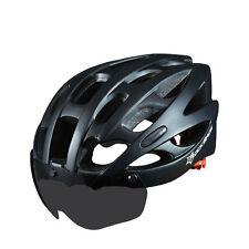RockBros Cycling Helmets MTB Road Bike Helmet With Black Goggle L/XL Matte Black