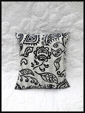 Black & White Cushion Cover Tribal Print Handmade Kantha Cushion Cover Rural Art