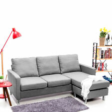 L-Shaped Grey Fabric Corner Sofa Small Chaise 3 Seater Living Room Sofa Couch