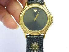 Movado Classic Museum Wristwatch Watch Gold Men Black Leather