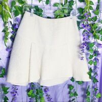 Rachel Zoe Cream Wool Flounce Mini Skirt