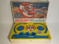 Vintage Battery Operated Alps Tin Spacecraft Ranger Flying Saucer In Box Working