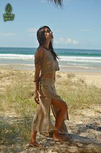 Cotton Maxi Split Skirt, Sequoia Skirt, Tribal Boho Pixie Fairy Gypsy Festival H