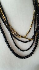 Multi strand black and gold faceted plastic beaded necklace fashion jewelry
