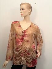 Size 14/16 NWT Lane Bryant long sleeve see thru sheer tan shirt pink floral XL