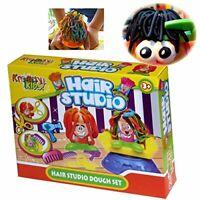 KIDS SAFE PLAY MODELLING DOUGH HAIR STUDIO HAIRDRESSING MOULD MOULDING SET TUBS